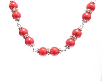Necklace, red necklace, beaded necklace, bridesmaid necklace, pearl necklace, red jewellery, red pearl necklace, gift for her