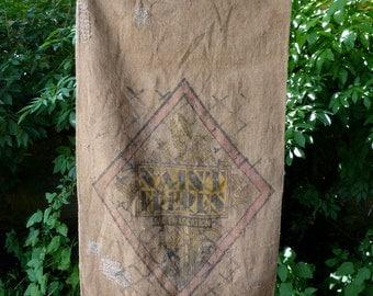 a vintage french hessian grain sack, repared, french boro