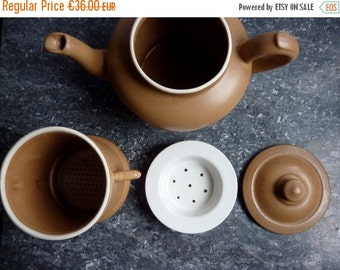 July Sale a vintage French filter cafetiere, coffee pot, stoneware, new old stock