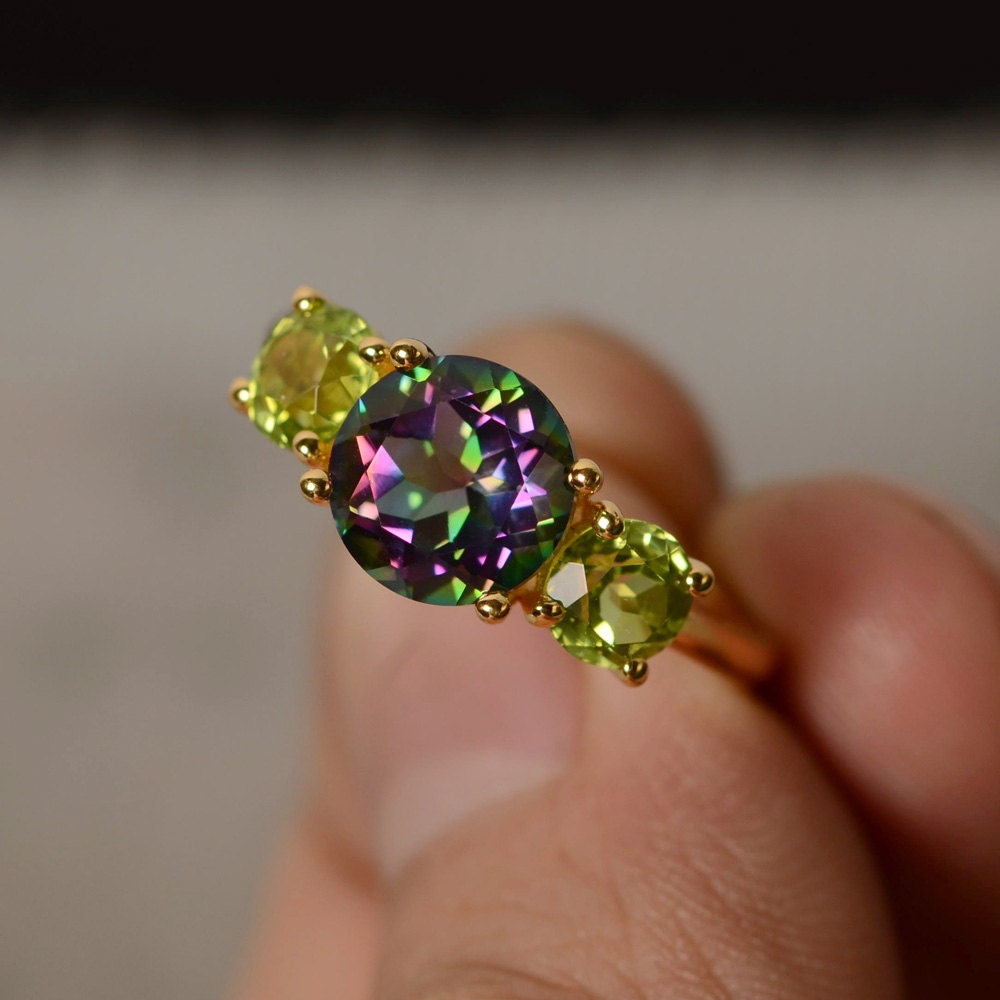 Mystic Topaz Ring Three Stone Ring Yellow Gold Plated Silver