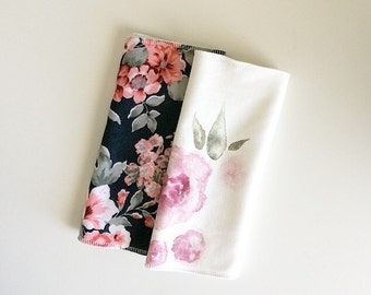 Baby Burp Cloths- Watercolor Floral or Paige Black Floral, Print of your choice.