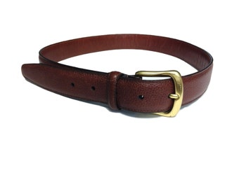 Coach Pebbled Brown Cowhide Leather Belt with Solid Brass Enclosure - Size Medium