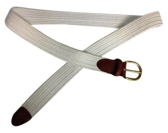 Talbots White Cloth Woven Belt with Brown Genuine Leather and Solid Brass Enclosures - Size Large