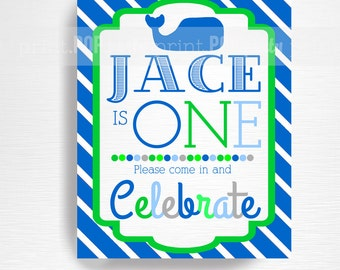 Whale Party Printable Door Sign YOU Print Blue Green Preppy Whale Birthday