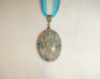 Oval Turquoise Blue Crazy Lace Agate pendant (JO358)