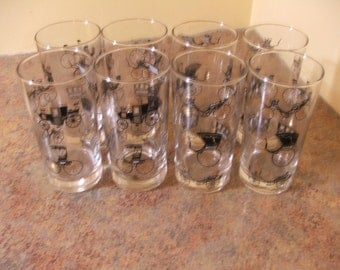 Set of Eight (8) Vintage 1950s Libbey Carriage and Buggy HighBall Glasses