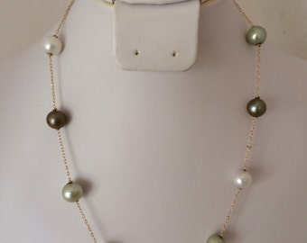 Beautiful 14K Gold Genuine Cultural Pearl Station Multi Color Pearls Hues of Gray Gold & White 585 Gold Link Chain Necklace WW XL Hallmark