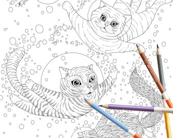 Coloring Page INSTANT DOWNLOAD Space Cats