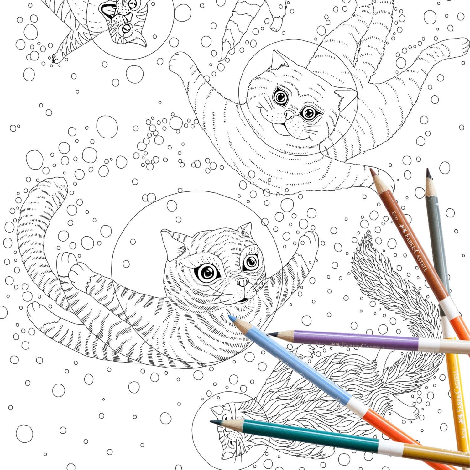 Coloring Page INSTANT DOWNLOAD Space Cats Adult