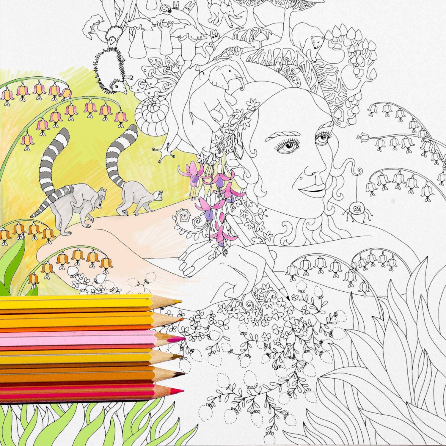 Coloring Page INSTANT DOWNLOAD Forest Princess Adult
