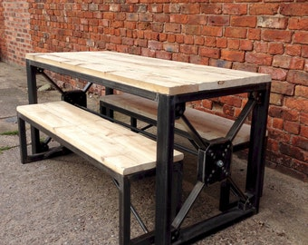 Lovely Industrial Steampunk Reclaimed Wood Dining Table And Benches