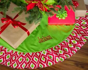 Burlap Christmas tree Skirt, Ruffle Tree Skirt, Monogram Tree Skirt, Embroidered Tree Skirt