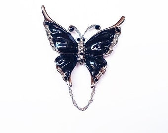 Butterfly - Black & Crystal Eyeglass Holder