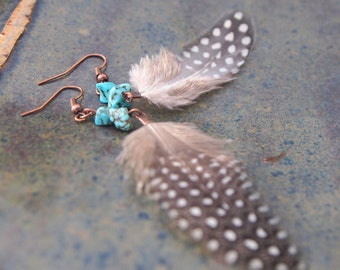 White speckled turquoise feather earrings