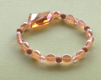 Peach Glass Beaded Stretch Bracelet