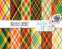Fiesta Digital Paper Pack - fiesta plaid in red, orange, yellow, green, and black - Mexican DIgital Paper - Cinco de Mayo - commercial use