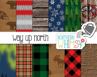 Winter Digital Paper – northern themed scrapbook paper in red, green & navy - Alaska digital paper - Canada digital paper - commercial use