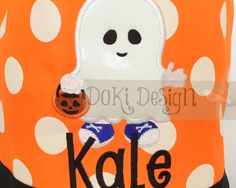 Ghost Monogrammed/Personalized Halloween Trick or Treat Bucket