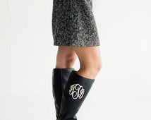 Monogrammed Black Leather Boots