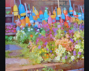 Rockport Lobster Buoys Flowers Bearskin Neck Watercolor Style Fine Art 16in x 16in Stretched Canvas Print Wall Art Coastal New England Art