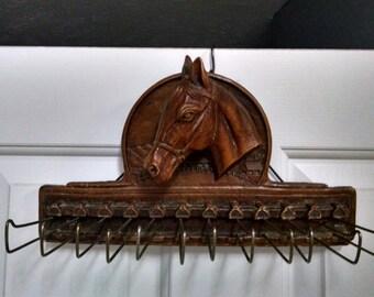 Vintage Syroco Horse Head Tie Rack / Belt Rack / Scarf Rack / Equestrian / 1940's