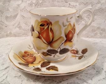 Royal Albert Demitasse Tea Cup and Saucer, 1950's, Beautiful Yellow Roses, Gold Trim,  Bone China, England