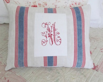 """Unique hand made pillow~Wonderfully tactile homespun grainsack & exquisite monogram M~Complete with 17"""" x 13"""" duck-feather insert"""