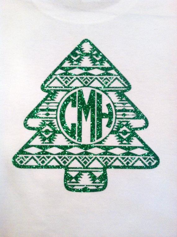 Glitter Aztec Christmas Tree Monogram Shirt