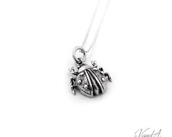 Sterling Silver 925 Ladybug Necklace Ladybug Charm pendant with box chain (N-76)