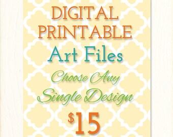 Digital Printable Art Files, Choose Any Single Design, Custom Colors, Personalization, Printable Art Designs