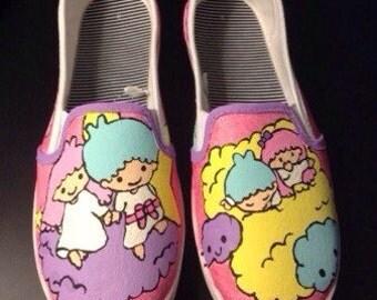 Little Twin Stars handpainted Canvas Slip On Sneakers-MTO