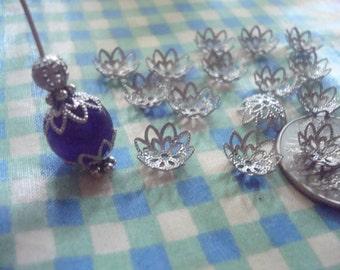 50 Stardust Platinum BRASS Filigree Lotus Flower Caps. 10x3mm Stamped, Sparkling, Pliable, Adjustable Brass Lotus Cap ~USPS Ship Rates /OR