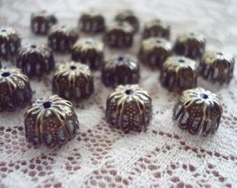 Closeout! 50 Antique Bronze Filigree Dome Caps. 6 Double Petals. 10x5mm  Adjustable, Pliable, Stamped Filigree Caps.  ~USPS Ship Rates