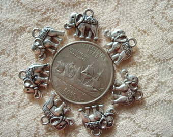 14 Antique Silver Elephant Charms/Small Pendant. 12x14x3mm Double Sided-- Front and Back-- Each Side Lovely & Different!  USPS Ship Rates/OR