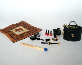 Miniature Chanel cosmetic kit for dolls - dollhouse miniature