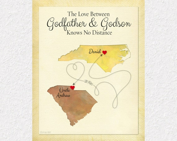 Godmother Gift Goddaughter Gift Long Distance Gift: Long Distance Godfather Gift Long Distance Godson By