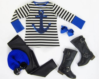 Girls Striped Tunic Top w/Cobalt Trim and Cobalt Sequin Anchor Sizes 4/5, 6/6X, 7/8, 10 Ready to Ship