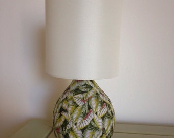 The Vine. Hand decorated table lamp with cream shade
