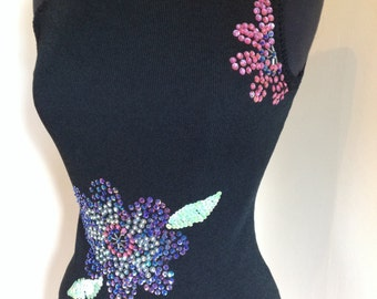 Vintage black stretch knit top with hand appliquéd sequin flowers