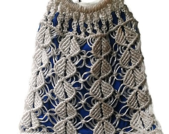 Macrame BAG 1970s VINTAGE Macrame ornament bag White+Blue Small Shopping Handlesontopop bag Hippie Boho Shopping Bag  70s authentic