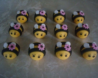 12 Edible Fondant Bumble Bee Cupcake Toppers with Flower