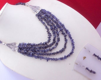 free shipping F-125 Stunning Uncut Iolite .925 Silver Handmade Beaded Necklace Jewelry