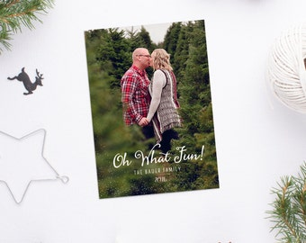 Oh What Fun - Sparkles - Holiday Photo Card