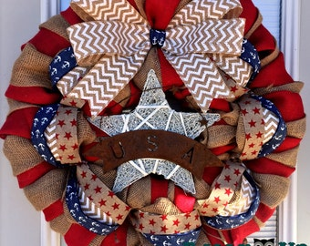 4th of July Wreath-Fourth of July Wreath- Red White and Blue Burlap Wreath-Summer Wreath- Patriotic burlap wreath- Welcome 4th Wreath