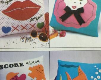 1980s, Pillow Pattern, Simplicity 9477, Decorated Pillows, Applique Pillow, Sewing Pattern, Fish Pillow, Lip Pillow, Pierrot Clown Pillow