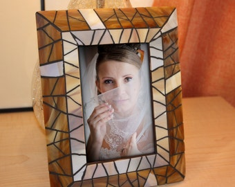 Mosaic Picture Frame, Amber Mosaic Picture Frame, Brown mosaic frame