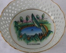 Vintage Ohio Souvenir Dish,  Blue Hole Porcelain Souvenir Dish, Castalia, Ohio, State of Ohio Vintage Tourist  Attraction Keepsake