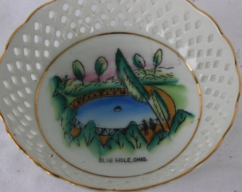 Ohio Souvenir Dish,  Blue Hole Porcelain Souvenir Dish, Castalia, Ohio, State of Ohio Vintage Tourist  Attraction Keepsake