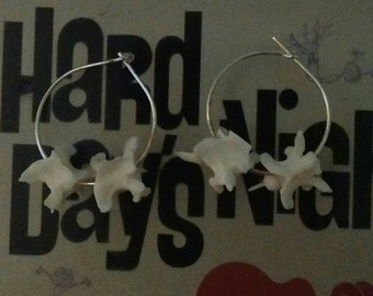 Hoop earrings with water moccasin vertebrae