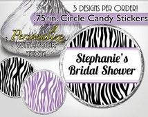 Custom Kiss Labels, Purple Zebra, Bridal Shower, Birthday Favor, Bachelorette Party, Girl Baby Shower, Sweet 16, Candy Sticker, Personalized